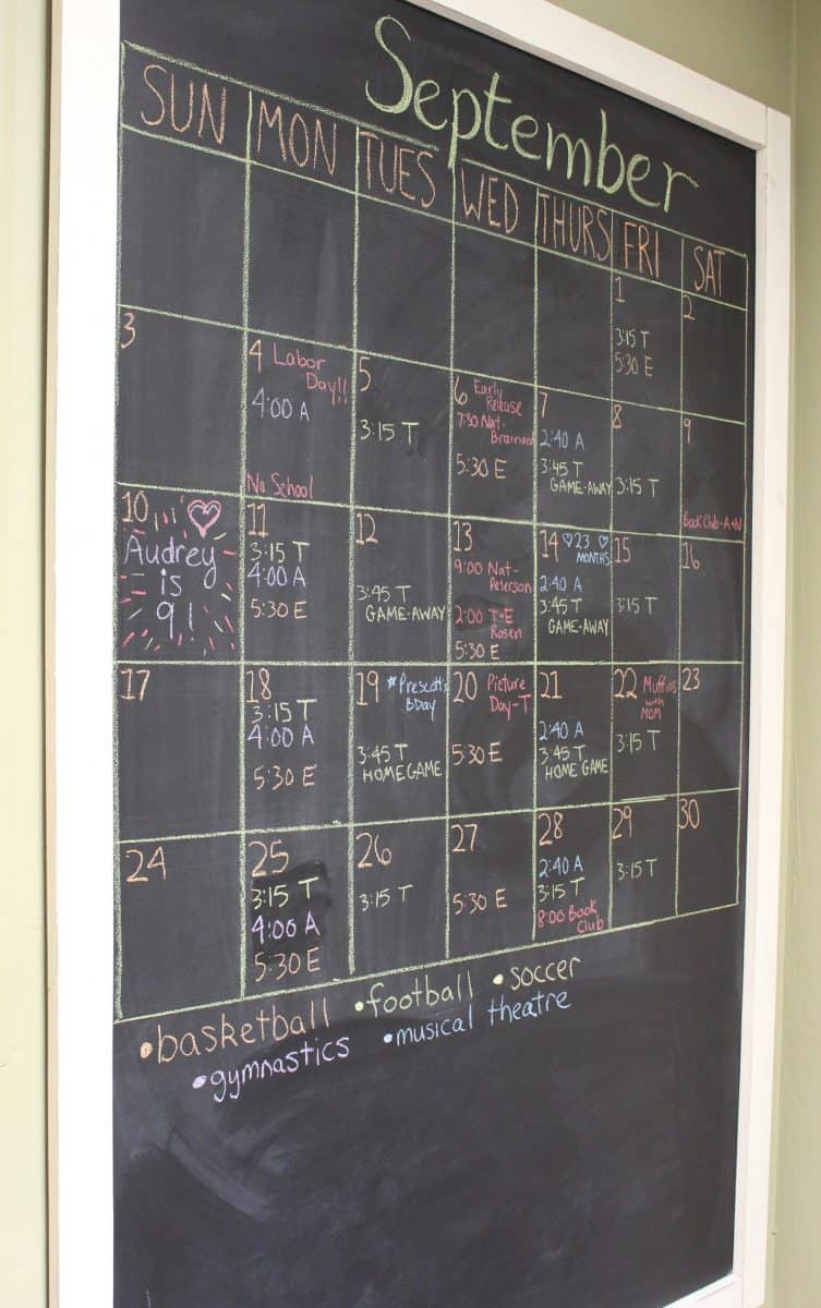 How To Organize Your Big Family With A Chalkboard Wall