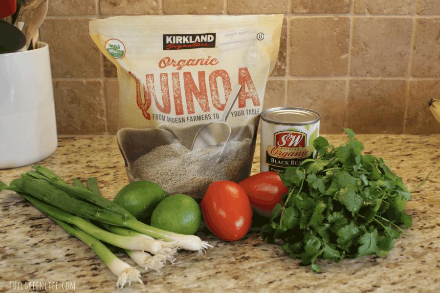 Black bean quinoa ingredients