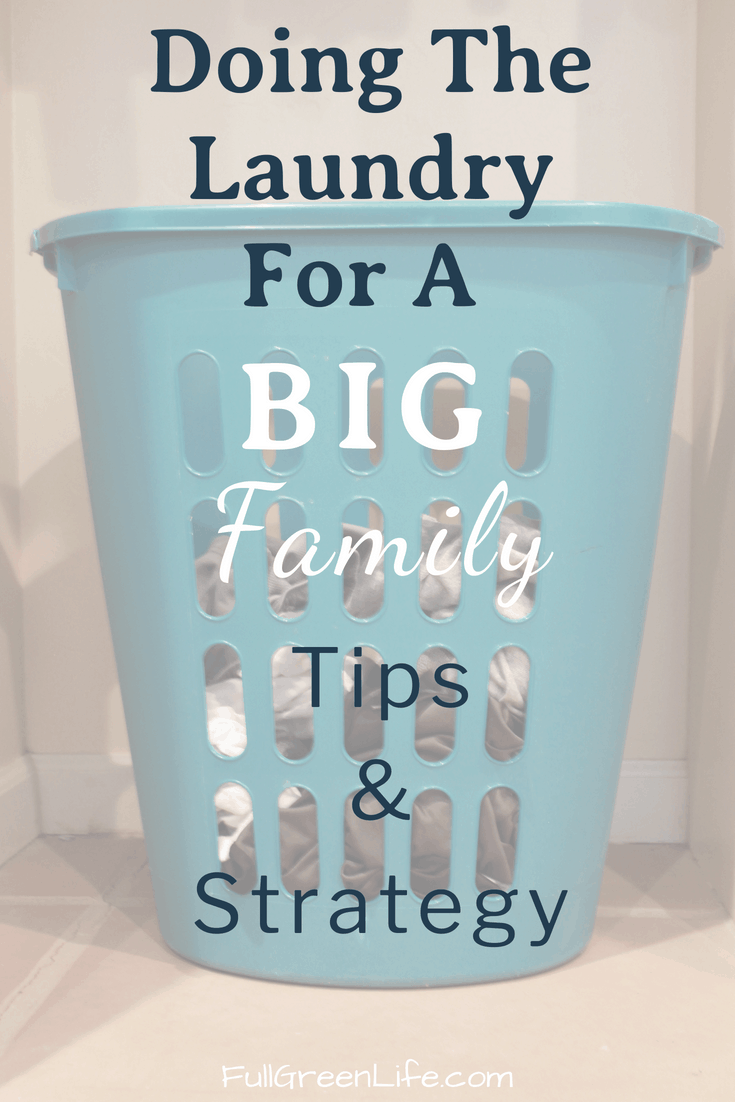 "laundry basket with dirty clothes with text overlay ""Doing Laundry for a Big Family Tips & Strategy"