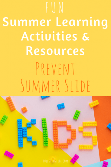 "colorful pinterest image with ""kids"" spelled out with lego blocks and text overlay- Fun summer learning activities and resources prevent summer slide"