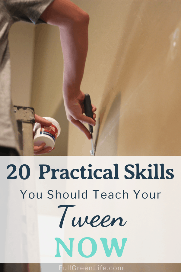"Pre-teen boy repairing hole in wall with text overlay ""20 Practical Skills You Should Teach Your Tween Now"""