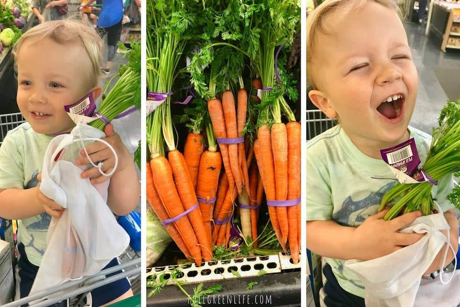 toddler shopping for produce