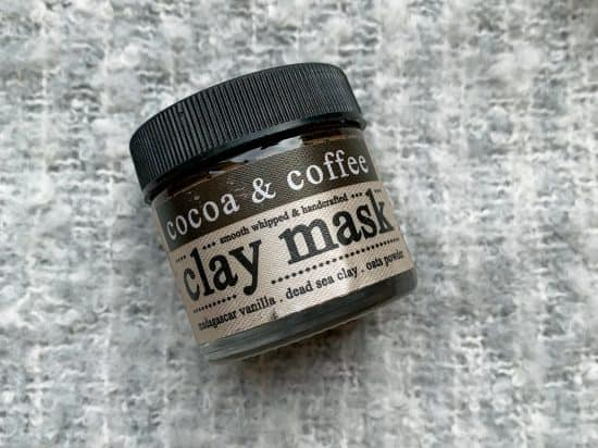 cocoa and coffee clay mask inside its glass jar with lid