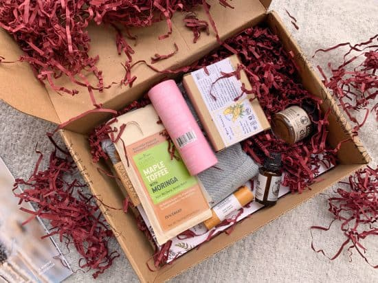 the inside of the open earthlove box with the products revealed