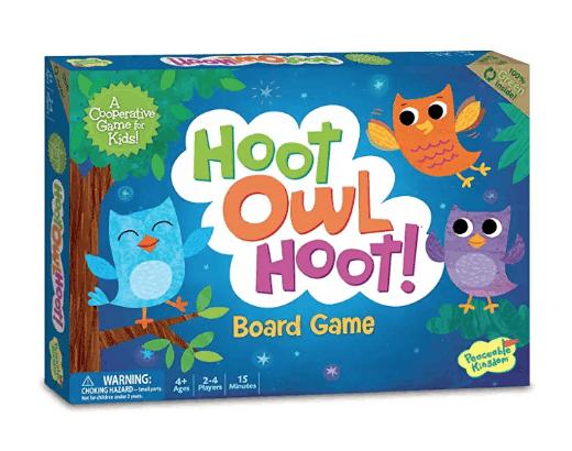 Hoot Owl Hoot cooperative board game for preschoolers