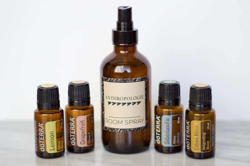 Anthropologie room spray, with lemon, grapefruit, siberian fir, and citrus bliss doterra essential oils