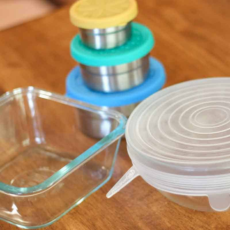 glass storage dish, stainless steel containers with silicone lids, reusable bowl lid