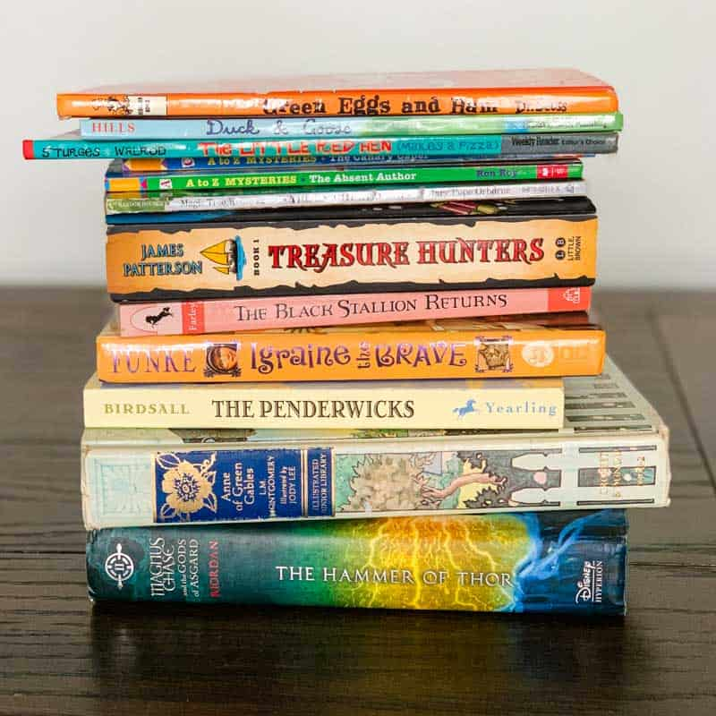 stack of children's books for reading time