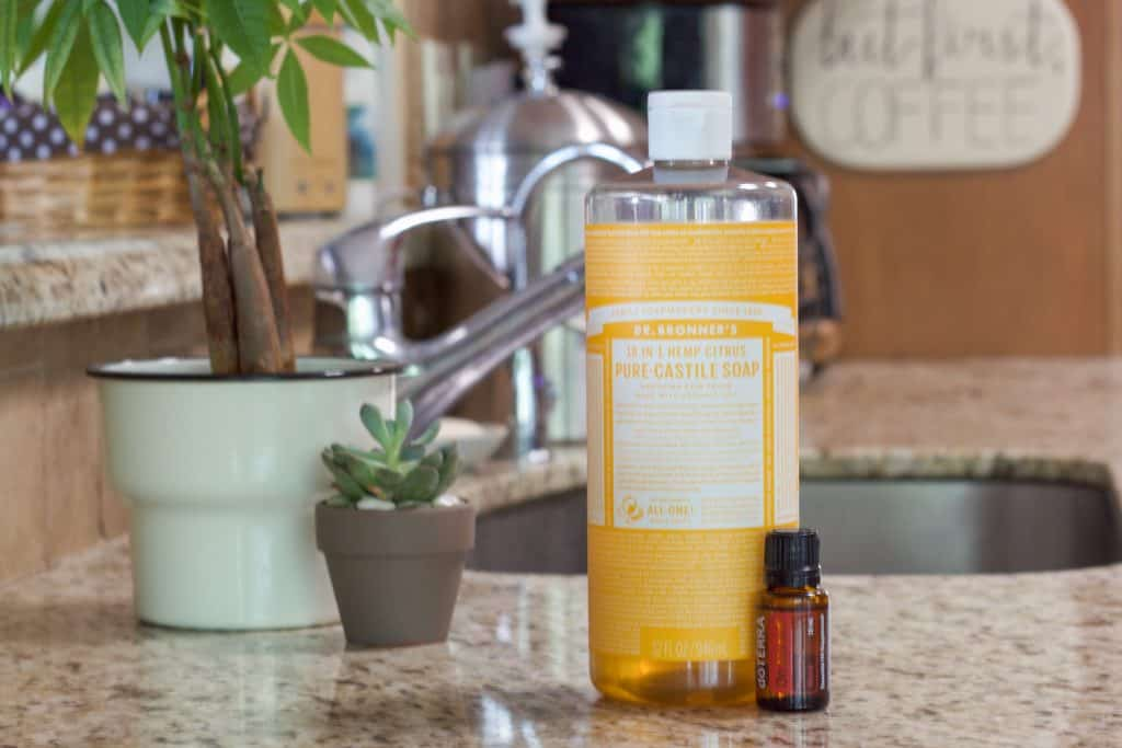 Dr. Bronner's Liquid Castile soap and On Guard essential oil